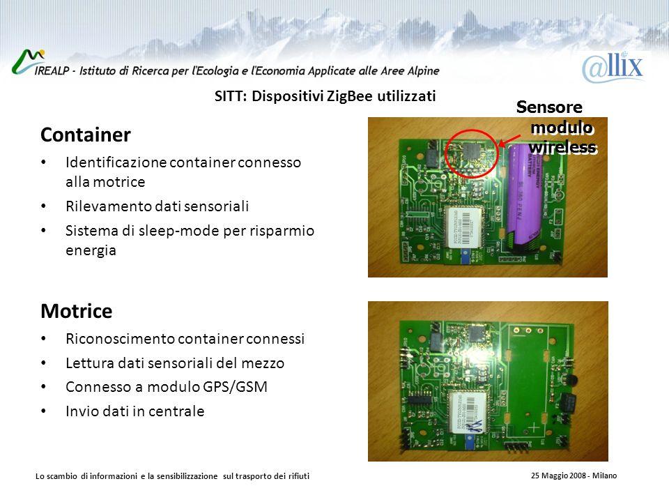 SITT: Dispositivi ZigBee utilizzati Container Identificazione container connesso alla motrice Rilevamento dati sensoriali Sistema di sleep-mode per risparmio energia Motrice Riconoscimento container connessi Lettura dati sensoriali del mezzo Connesso a modulo GPS/GSM Invio dati in centrale Sensore modulo wireless Lo scambio di informazioni e la sensibilizzazione sul trasporto dei rifiuti 25 Maggio 2008 - Milano