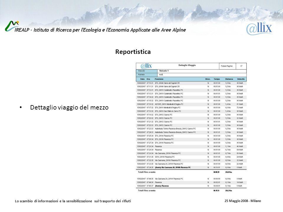 Reportistica Lo scambio di informazioni e la sensibilizzazione sul trasporto dei rifiuti 25 Maggio 2008 - Milano Dettaglio viaggio del mezzo