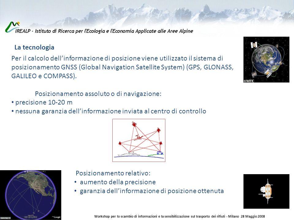 La tecnologia Workshop per lo scambio di informazioni e la sensibilizzazione sul trasporto dei rifiuti - Milano 28 Maggio 2008 Per il calcolo dellinformazione di posizione viene utilizzato il sistema di posizionamento GNSS (Global Navigation Satellite System) (GPS, GLONASS, GALILEO e COMPASS).
