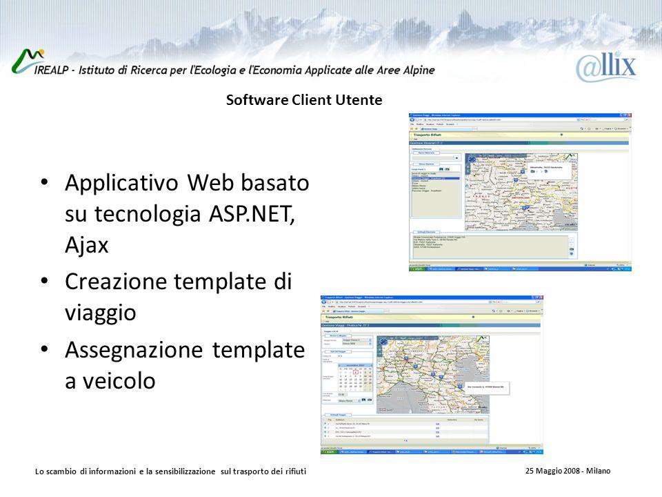 Software Client Utente Applicativo Web basato su tecnologia ASP.NET, Ajax Creazione template di viaggio Assegnazione template a veicolo Lo scambio di informazioni e la sensibilizzazione sul trasporto dei rifiuti 25 Maggio 2008 - Milano