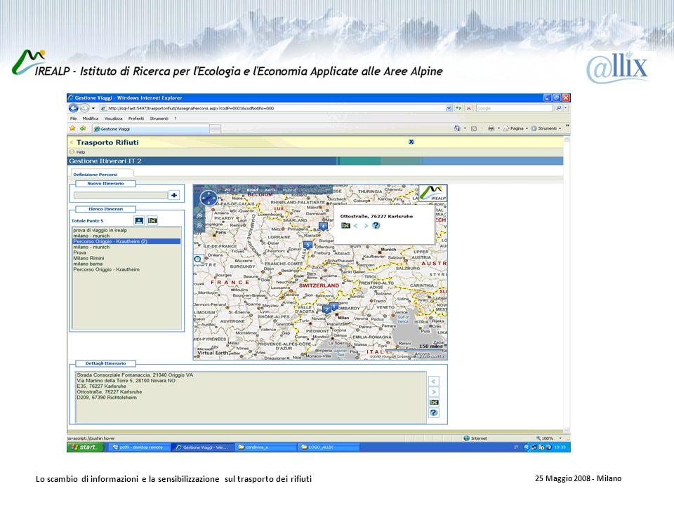 Lo scambio di informazioni e la sensibilizzazione sul trasporto dei rifiuti 25 Maggio 2008 - Milano