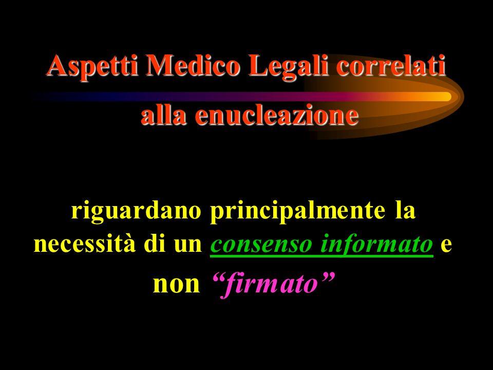 Aspetti Medico Legali correlati alla enucleazione riguardano principalmente la necessità di un consenso informato e nonfirmato