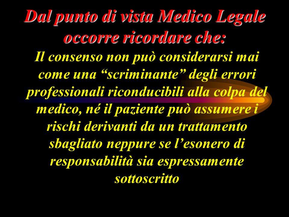 Dal punto di vista Medico Legale occorre ricordare che: Il consenso non può considerarsi mai come una scriminante degli errori professionali riconduci