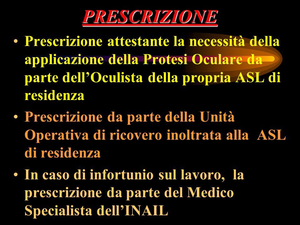 PRESCRIZIONE Prescrizione attestante la necessità della applicazione della Protesi Oculare da parte dellOculista della propria ASL di residenza Prescr