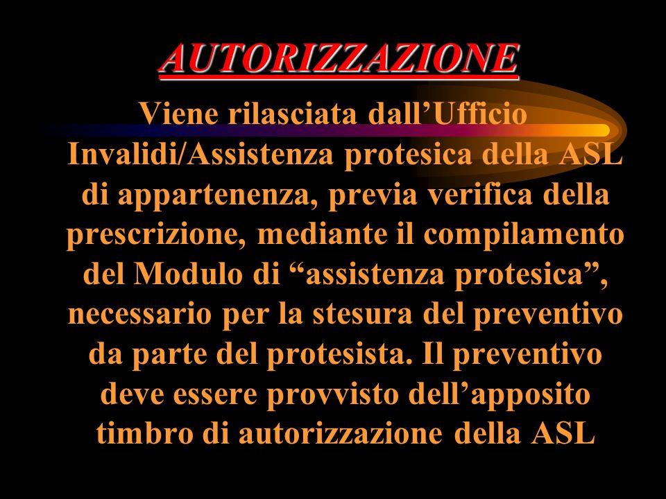 AUTORIZZAZIONE Viene rilasciata dallUfficio Invalidi/Assistenza protesica della ASL di appartenenza, previa verifica della prescrizione, mediante il c