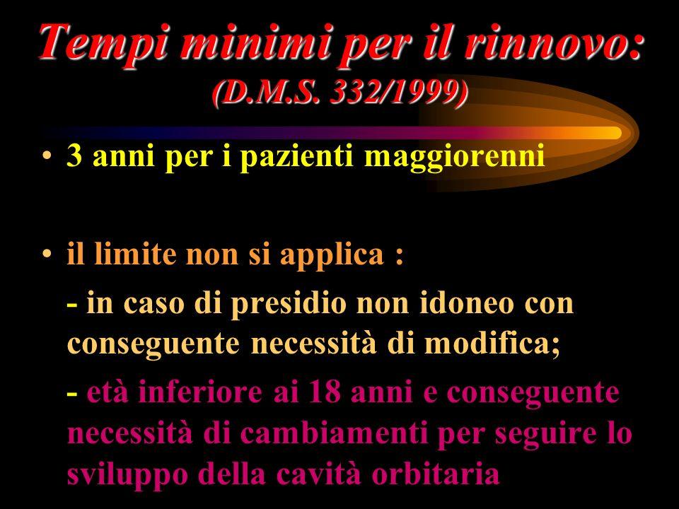 Tempi minimi per il rinnovo: (D.M.S. 332/1999) 3 anni per i pazienti maggiorenni il limite non si applica : - in caso di presidio non idoneo con conse