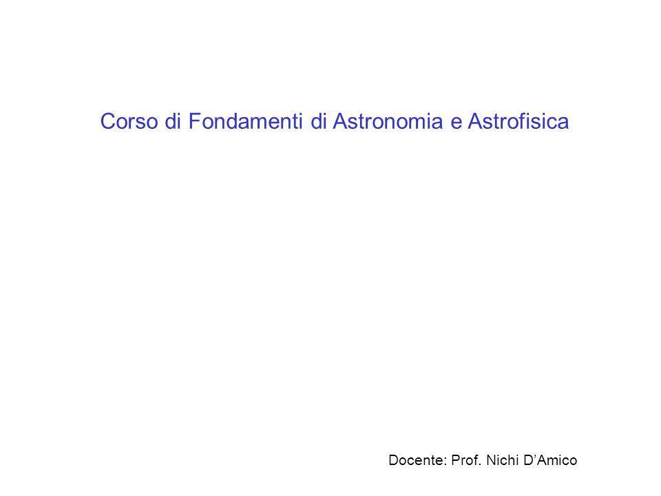 Corso di Fondamenti di Astronomia e Astrofisica Docente: Prof. Nichi DAmico