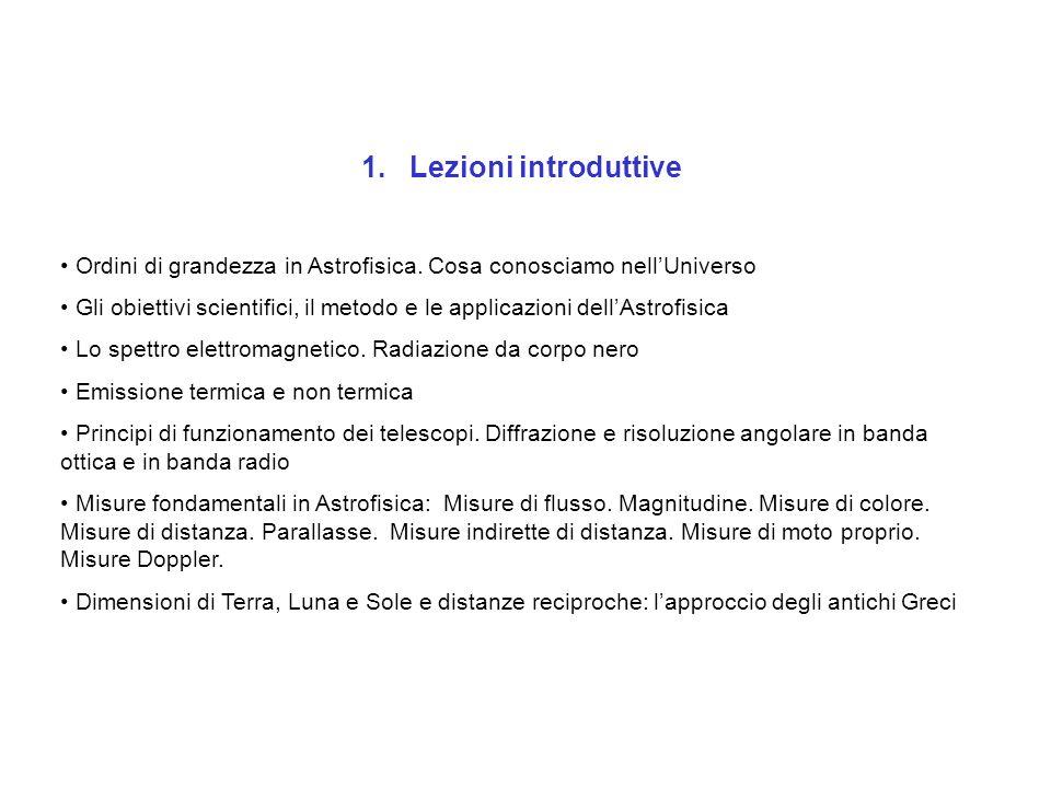 1. Lezioni introduttive Ordini di grandezza in Astrofisica. Cosa conosciamo nellUniverso Gli obiettivi scientifici, il metodo e le applicazioni dellAs