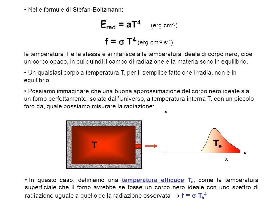 Nelle formule di Stefan-Boltzmann: E rad = aT 4 (erg cm -3 ) f = T 4 (erg cm -2 s -1 ) la temperatura T è la stessa e si riferisce alla temperatura ideale di corpo nero, cioè un corpo opaco, in cui quindi il campo di radiazione e la materia sono in equilibrio.