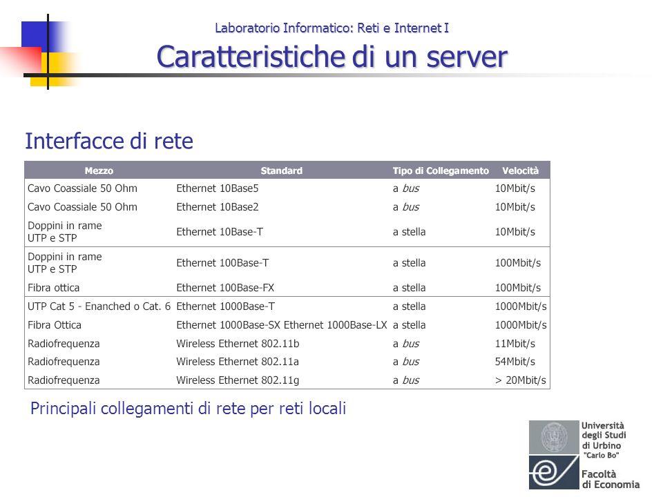 Laboratorio Informatico: Reti e Internet I Caratteristiche di un server Interfacce di rete Principali collegamenti di rete per reti locali