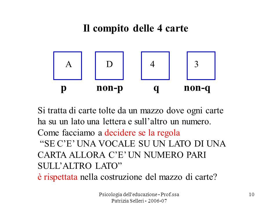 Psicologia dell'educazione - Prof.ssa Patrizia Selleri - 2006-07 10 Il compito delle 4 carte A D 4 3 p non-p q non-q Si tratta di carte tolte da un ma