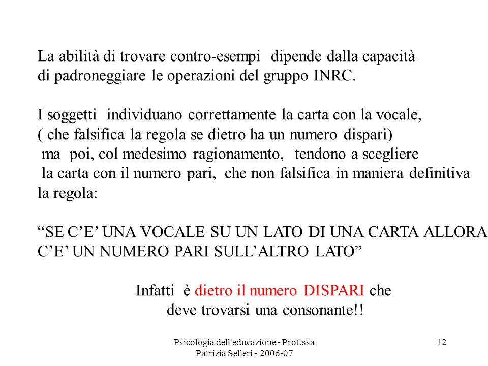 Psicologia dell'educazione - Prof.ssa Patrizia Selleri - 2006-07 12 La abilità di trovare contro-esempi dipende dalla capacità di padroneggiare le ope