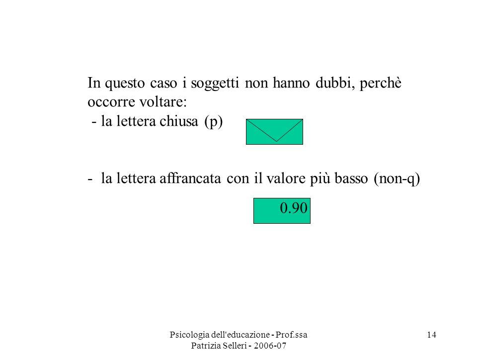 Psicologia dell'educazione - Prof.ssa Patrizia Selleri - 2006-07 14 In questo caso i soggetti non hanno dubbi, perchè occorre voltare: - la lettera ch