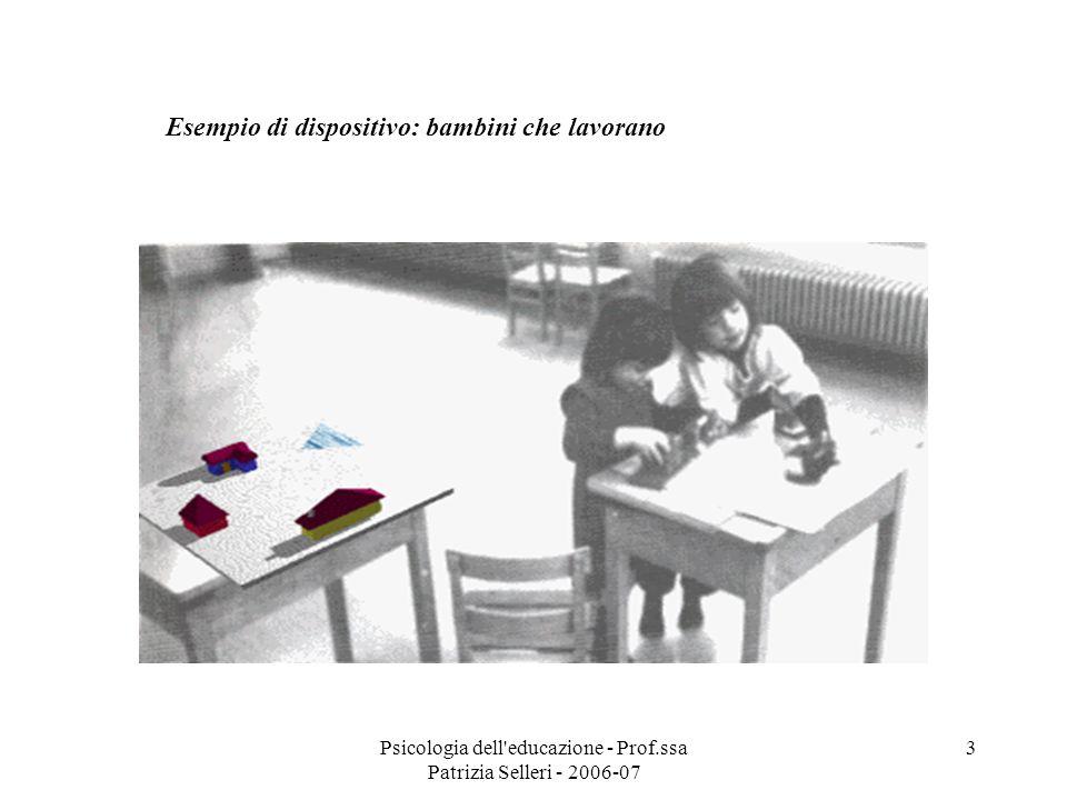 Psicologia dell'educazione - Prof.ssa Patrizia Selleri - 2006-07 3 Esempio di dispositivo: bambini che lavorano