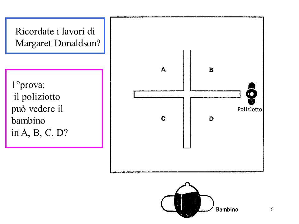 Psicologia dell'educazione - Prof.ssa Patrizia Selleri - 2006-07 6 Ricordate i lavori di Margaret Donaldson? 1°prova: il poliziotto può vedere il bamb