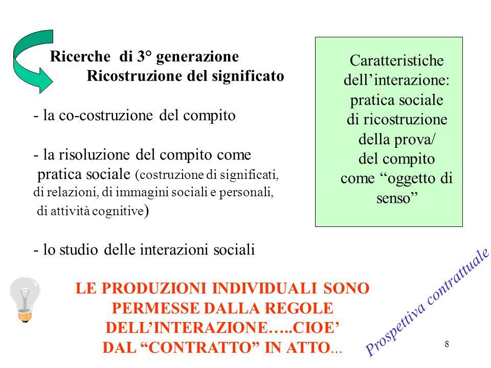 8 Ricerche di 3° generazione Ricostruzione del significato - la co-costruzione del compito - la risoluzione del compito come pratica sociale (costruzi