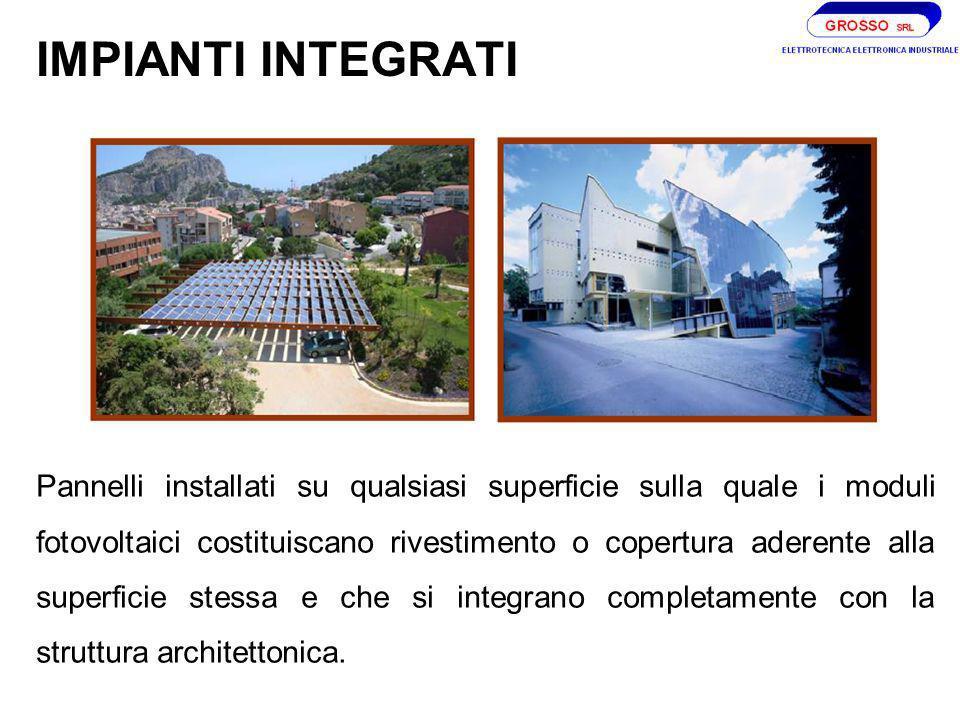 IMPIANTI INTEGRATI Pannelli installati su qualsiasi superficie sulla quale i moduli fotovoltaici costituiscano rivestimento o copertura aderente alla superficie stessa e che si integrano completamente con la struttura architettonica.