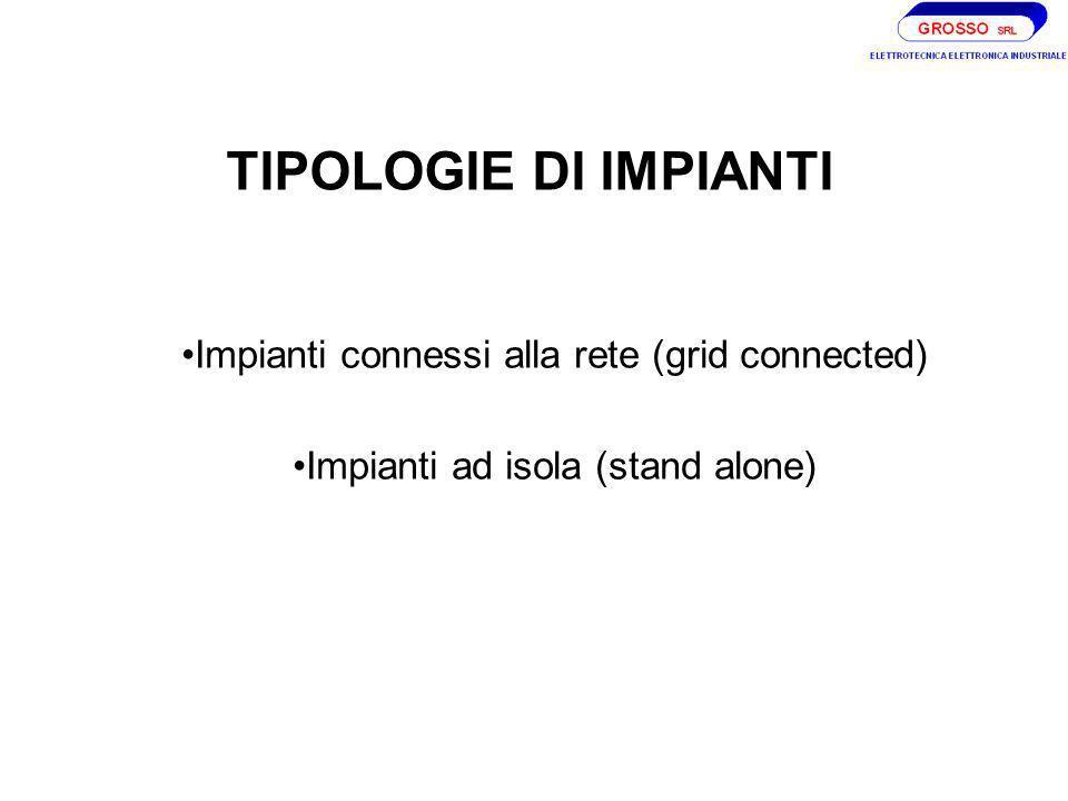 TIPOLOGIE DI IMPIANTI Impianti connessi alla rete (grid connected) Impianti ad isola (stand alone)