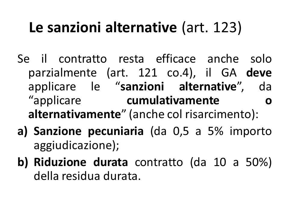 Le sanzioni alternative (art. 123) Se il contratto resta efficace anche solo parzialmente (art.