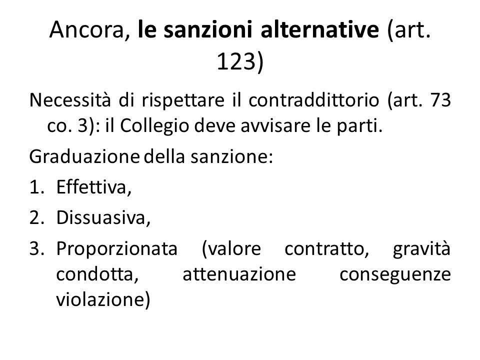 Ancora, le sanzioni alternative (art. 123) Necessità di rispettare il contraddittorio (art.