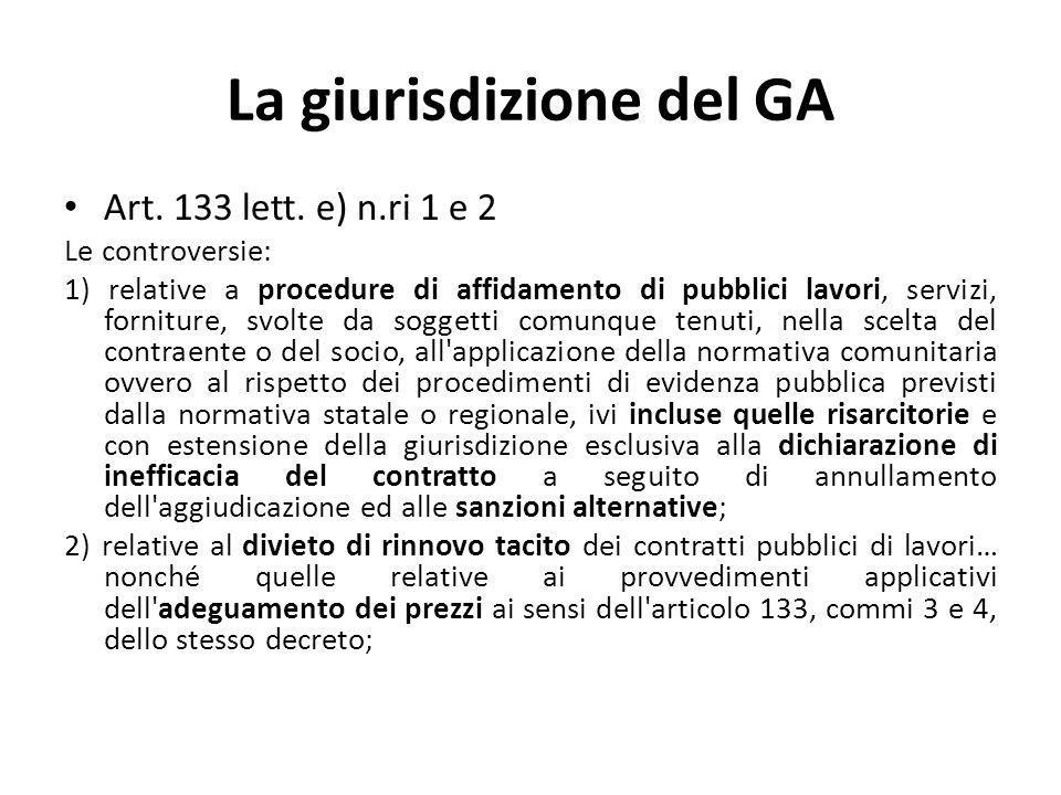 La giurisdizione del GA Art. 133 lett.