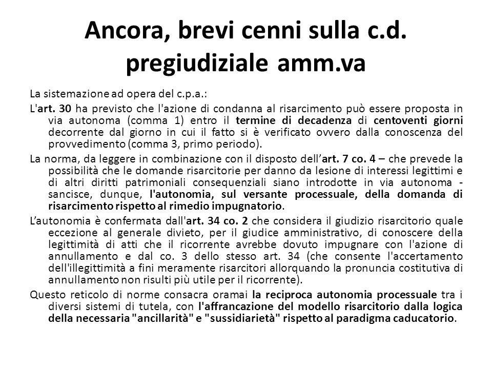Ancora, brevi cenni sulla c.d. pregiudiziale amm.va La sistemazione ad opera del c.p.a.: L art.