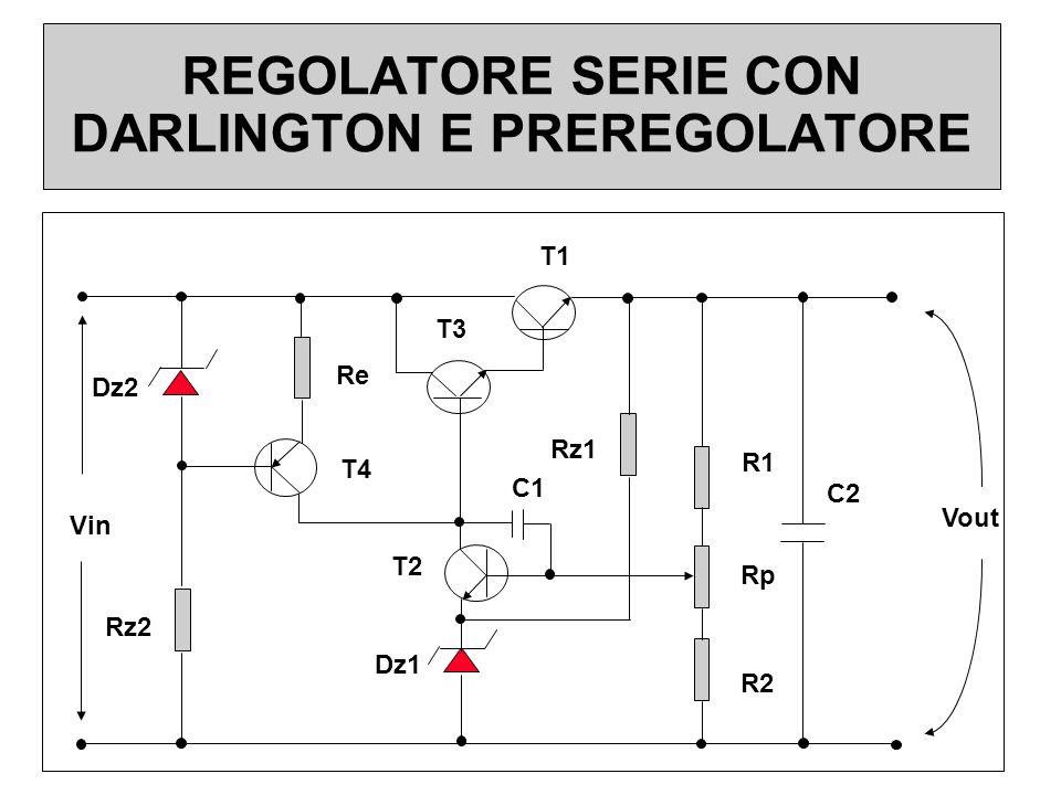 REGOLATORE SERIE CON DARLINGTON E PREREGOLATORE Dz2 Dz1 Rz2 Rz1 R1 Rp R2 Re T1 T3 T2 T4 C1 C2 Vin Vout
