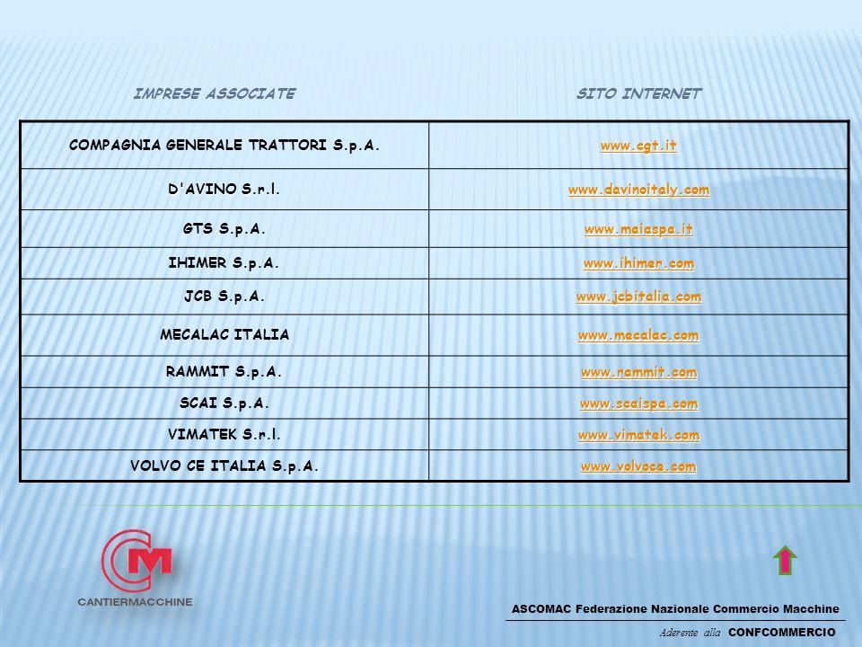 ASCOMAC Federazione Nazionale Commercio Macchine Aderente alla CONFCOMMERCIO SITO INTERNETIMPRESE ASSOCIATE COMPAGNIA GENERALE TRATTORI S.p.A. www.cgt