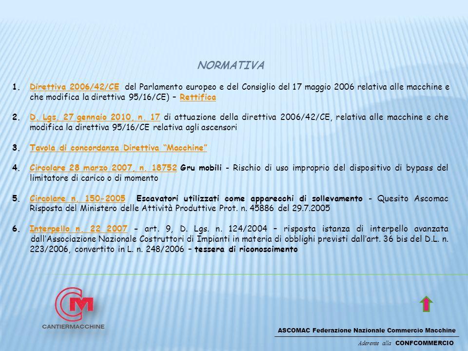 ASCOMAC Federazione Nazionale Commercio Macchine Aderente alla CONFCOMMERCIO NORMATIVA 1.Direttiva 2006/42/CE del Parlamento europeo e del Consiglio del 17 maggio 2006 relativa alle macchine e che modifica la direttiva 95/16/CE) – RettificaDirettiva 2006/42/CERettifica 2.D.