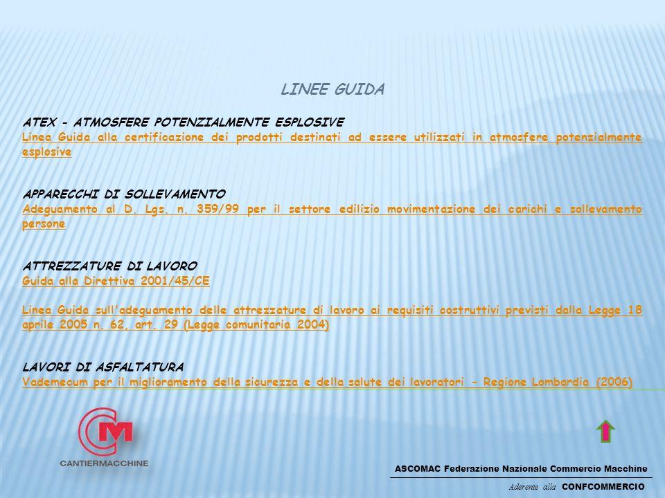 ASCOMAC Federazione Nazionale Commercio Macchine Aderente alla CONFCOMMERCIO LINEE GUIDA ATEX - ATMOSFERE POTENZIALMENTE ESPLOSIVE Linea Guida alla certificazione dei prodotti destinati ad essere utilizzati in atmosfere potenzialmente esplosive APPARECCHI DI SOLLEVAMENTO Adeguamento al D.