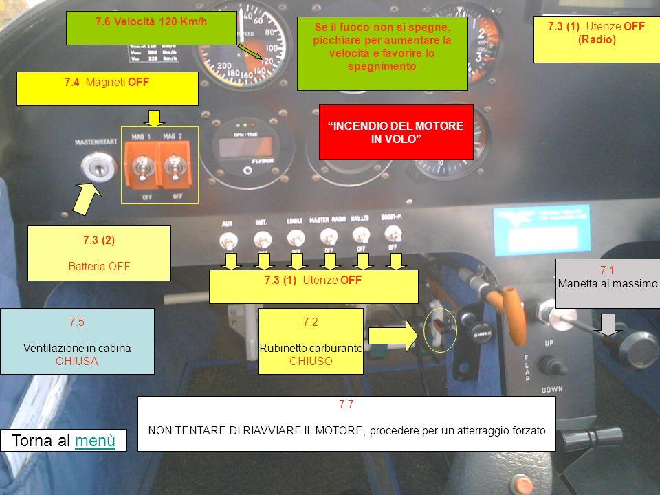 7.4 Magneti OFF INCENDIO DEL MOTORE IN VOLO 7.3 (2) Batteria OFF Torna al menùmenù 7.2 Rubinetto carburante CHIUSO 7.7 NON TENTARE DI RIAVVIARE IL MOTORE, procedere per un atterraggio forzato 7.5 Ventilazione in cabina CHIUSA 7.1 Manetta al massimo 7.3 (1) Utenze OFF (Radio) 7.6 Velocità 120 Km/h Se il fuoco non si spegne, picchiare per aumentare la velocità e favorire lo spegnimento