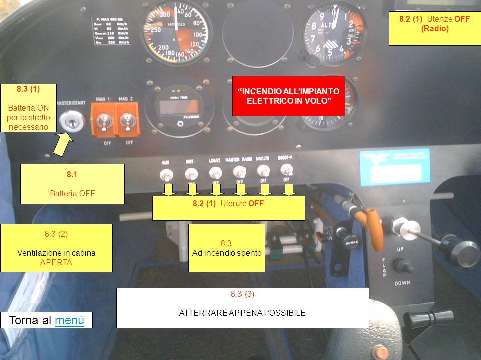 INCENDIO ALLIMPIANTO ELETTRICO IN VOLO 8.1 Batteria OFF Torna al menùmenù 8.3 Ad incendio spento 8.3 (3) ATTERRARE APPENA POSSIBILE 8.3 (2) Ventilazione in cabina APERTA 8.2 (1) Utenze OFF (Radio) 8.3 (1) Batteria ON per lo stretto necessario