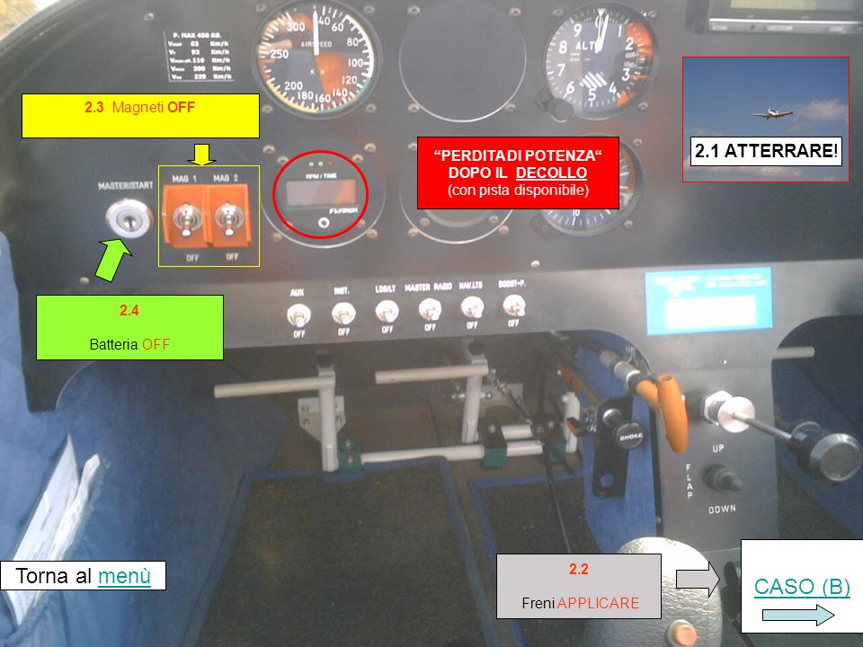 Air Salento volo training Sequenza 2 Perdita di potenza dopo il decollo b) se la pista disponibile NON consente latterraggio (da CHECK LIST EMERGENZE – Pioneer 200)