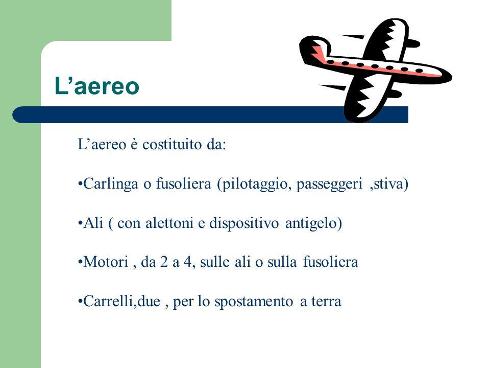 Laereo Laereo è costituito da: Carlinga o fusoliera (pilotaggio, passeggeri,stiva) Ali ( con alettoni e dispositivo antigelo) Motori, da 2 a 4, sulle ali o sulla fusoliera Carrelli,due, per lo spostamento a terra