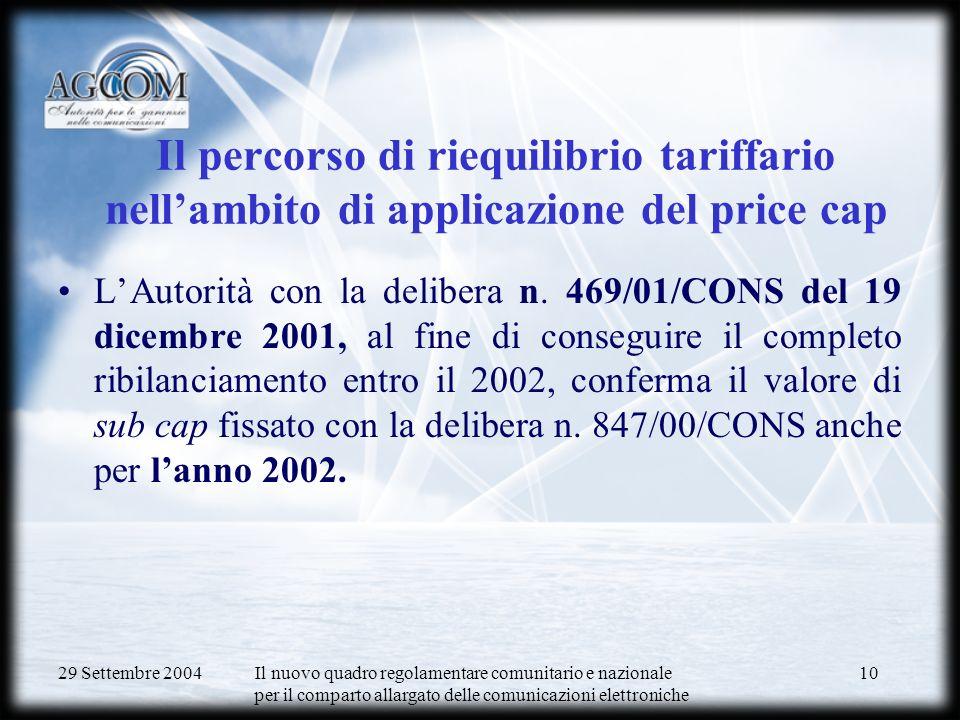 29 Settembre 2004 Il nuovo quadro regolamentare comunitario e nazionale per il comparto allargato delle comunicazioni elettroniche 10 Il percorso di riequilibrio tariffario nellambito di applicazione del price cap LAutorità con la delibera n.