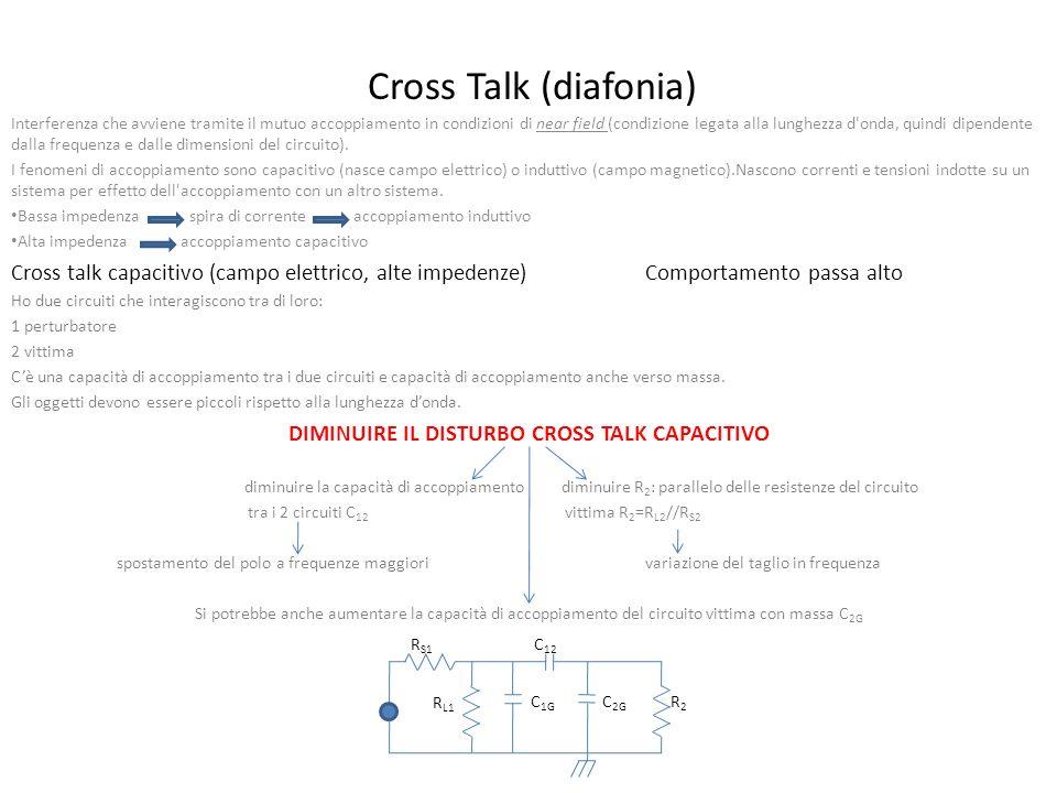 Cross Talk (diafonia) Interferenza che avviene tramite il mutuo accoppiamento in condizioni di near field (condizione legata alla lunghezza d onda, quindi dipendente dalla frequenza e dalle dimensioni del circuito).