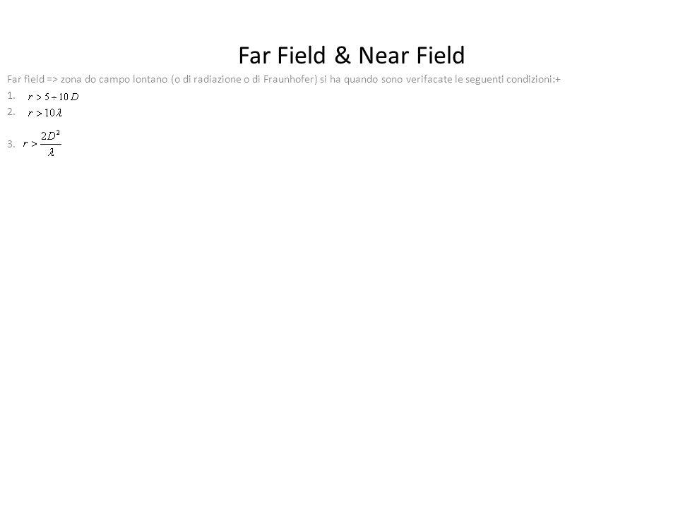 Far Field & Near Field Far field => zona do campo lontano (o di radiazione o di Fraunhofer) si ha quando sono verifacate le seguenti condizioni:+ 1.