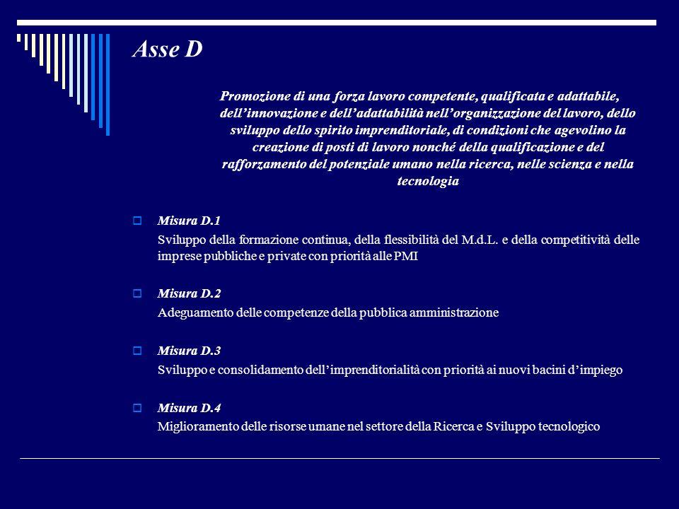 Asse D Promozione di una forza lavoro competente, qualificata e adattabile, dellinnovazione e delladattabilità nellorganizzazione del lavoro, dello sv