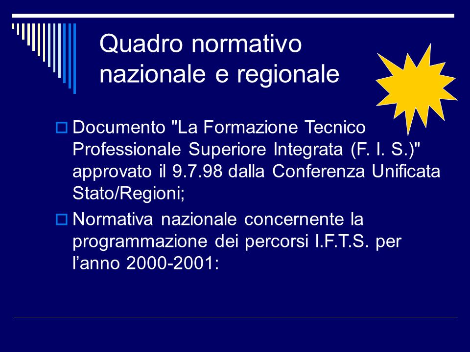 Quadro normativo nazionale e regionale Documento