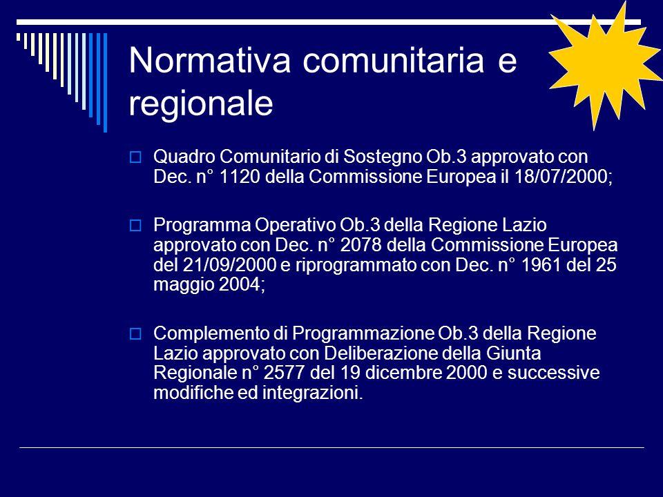 Normativa comunitaria e regionale Quadro Comunitario di Sostegno Ob.3 approvato con Dec. n° 1120 della Commissione Europea il 18/07/2000; Programma Op