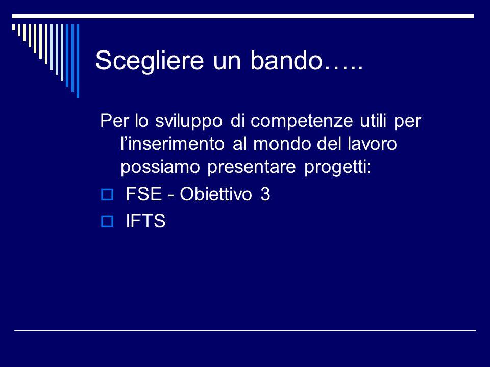 Scegliere un bando….. Per lo sviluppo di competenze utili per linserimento al mondo del lavoro possiamo presentare progetti: FSE - Obiettivo 3 IFTS