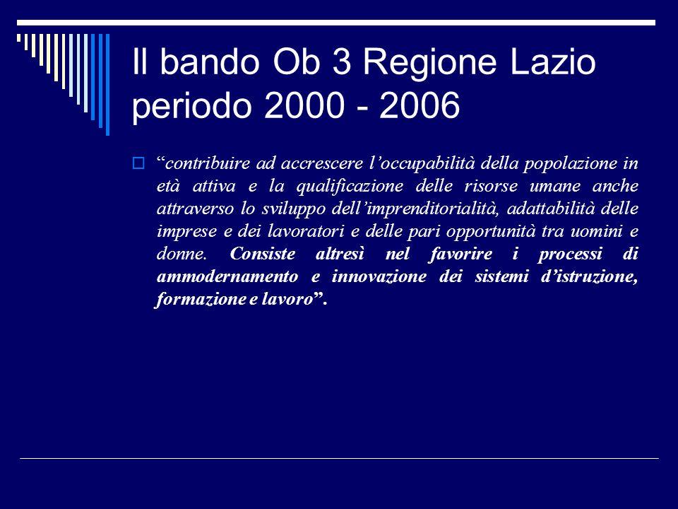Il bando Ob 3 Regione Lazio periodo 2000 - 2006 contribuire ad accrescere loccupabilità della popolazione in età attiva e la qualificazione delle risorse umane anche attraverso lo sviluppo dellimprenditorialità, adattabilità delle imprese e dei lavoratori e delle pari opportunità tra uomini e donne.