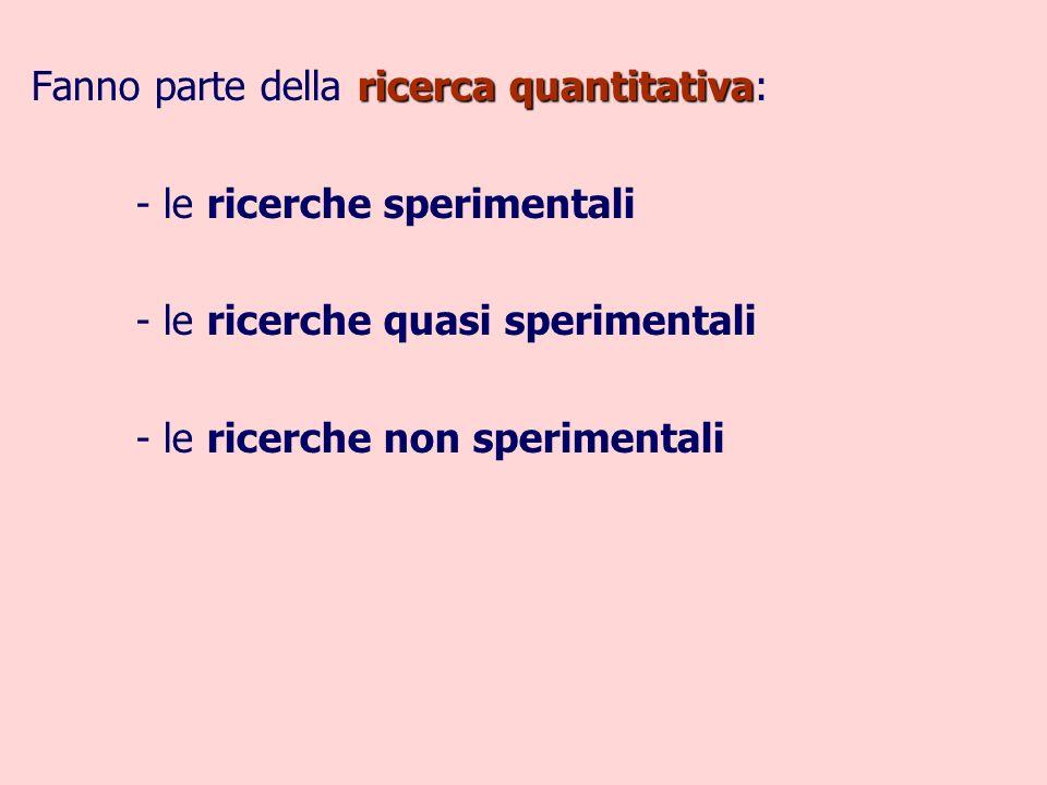 ricerca quantitativa Fanno parte della ricerca quantitativa: - le ricerche sperimentali - le ricerche quasi sperimentali - le ricerche non sperimentali