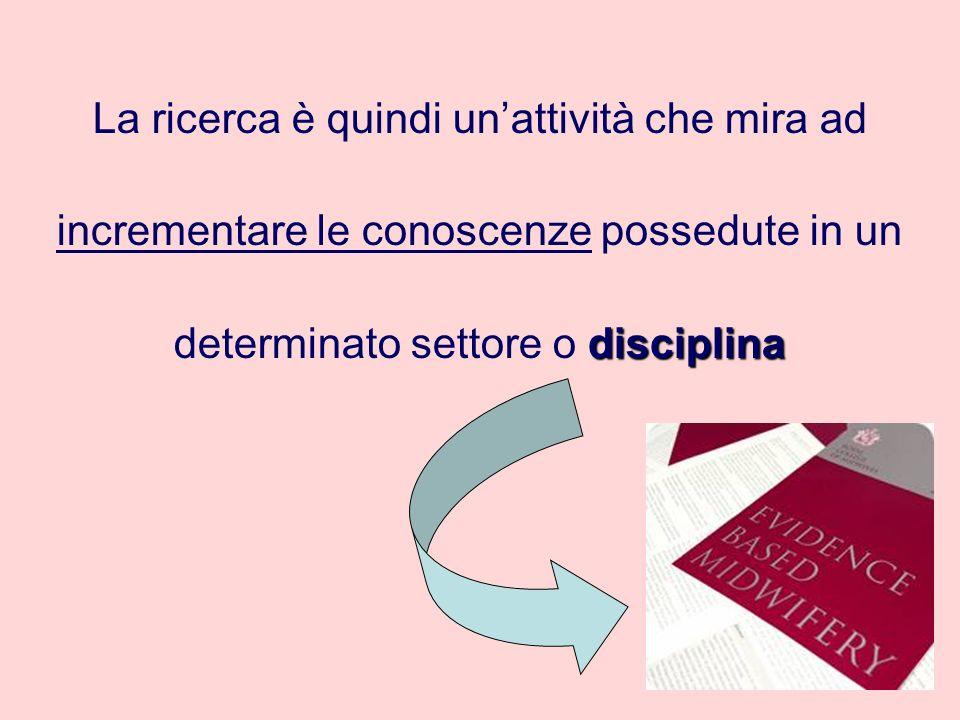 La ricerca è quindi unattività che mira ad incrementare le conoscenze possedute in un disciplina determinato settore o disciplina