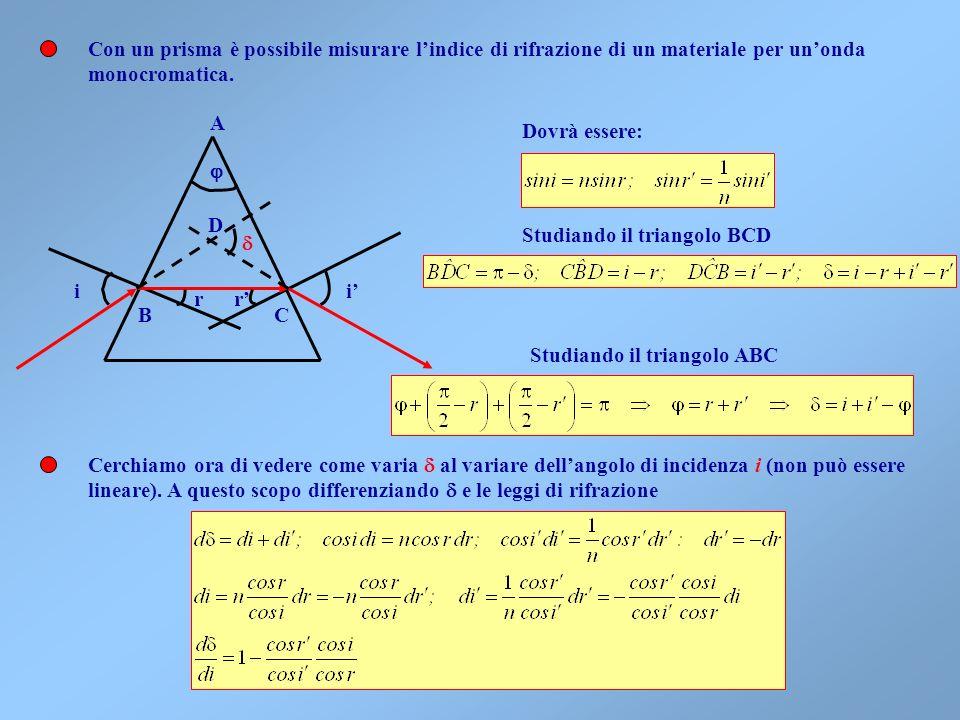 Un dispositivo che sfrutta il fenomeno della rifrazione è il prisma Il vetro ha un indice di rifrazione relativo allaria pari a n rel =0.666. Questo f