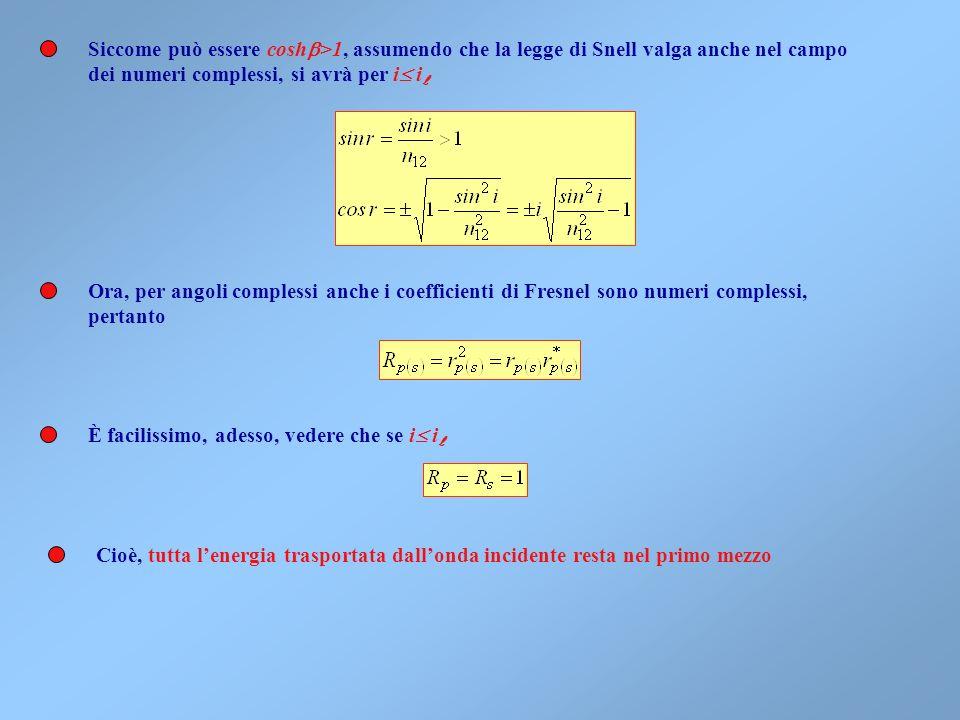 Le identità trigonometriche restano tutte valide, e vanno introdotte le funzioni iperboliche mediante le seguenti formule Da cui Inoltre per /2 È poss