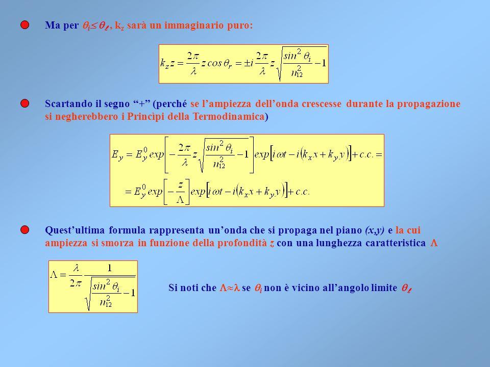 Ci domandiamo ora se nella riflessione totale ci sia un campo elettromagnetico nel secondo mezzo (z>0) 1 2 z i x Considerando la componente parallela