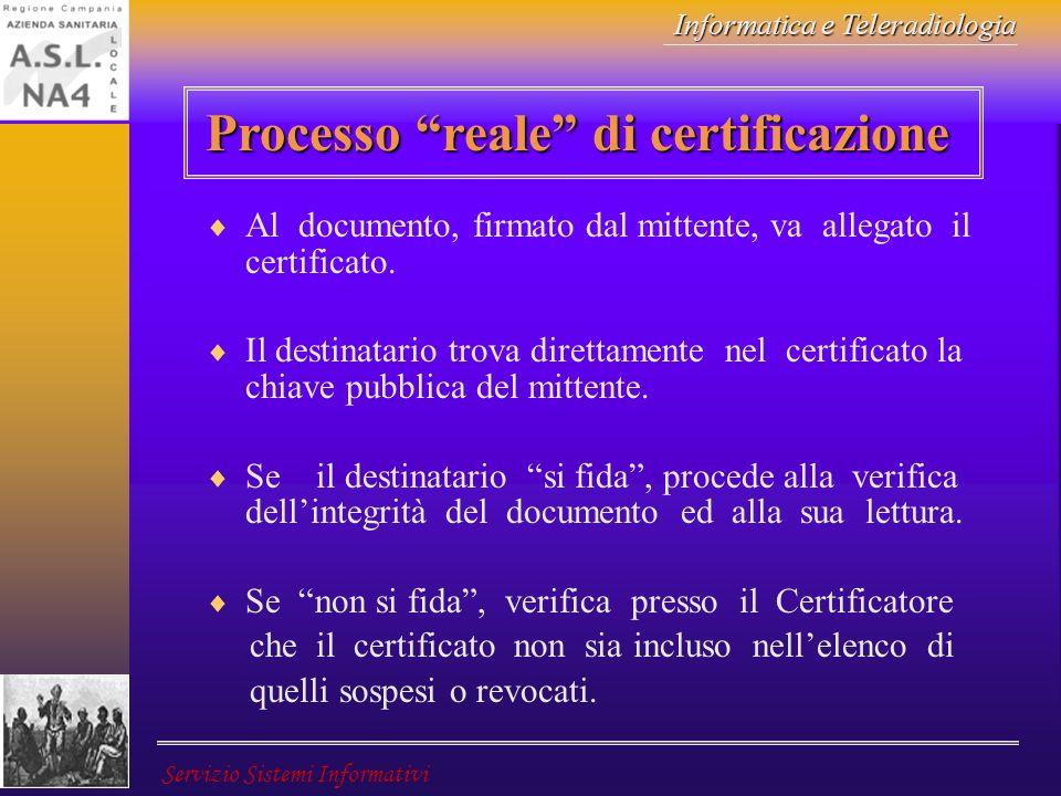 Informatica e Teleradiologia Servizio Sistemi Informativi Processo reale di certificazione Al documento, firmato dal mittente, va allegato il certific