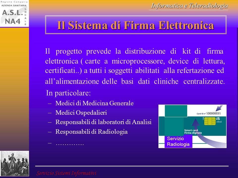 Informatica e Teleradiologia Servizio Sistemi Informativi Il progetto prevede la distribuzione di kit di firma elettronica ( carte a microprocessore,