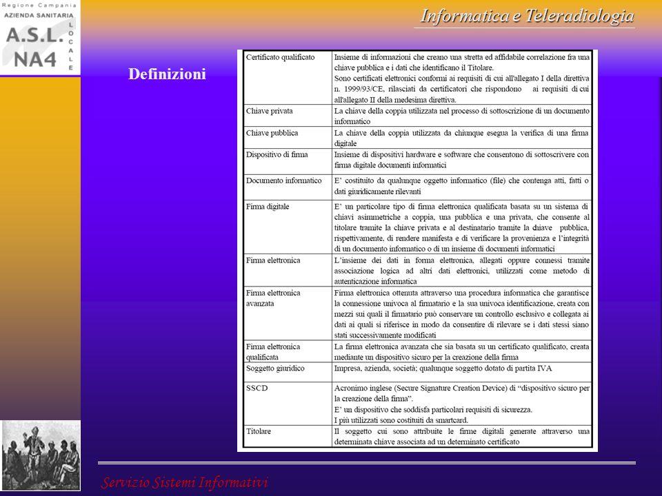 Informatica e Teleradiologia Servizio Sistemi Informativi Definizioni